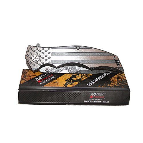 Mtech Xtreme Vintage Style National flag Folding Assisted Opening Knife, America Eagle Carved on Blade.MX-A849AE