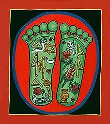 The Lotus Footprints of Srimati Radharani - Water Color on Canvas