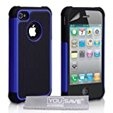 Dual Combo Grip Back Hard And Soft Silicone Gel Case For The Apple iPhone 4 / 4S Blue / Black With Screen Protector Film And Grey Micro-Fibre Polishing Clothby Yousave Accesso
