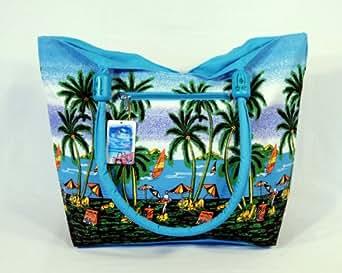 "Water Resistent Palm Tree Canvas Beach Tote Bag Wood Balls Zipper Closure 21 X 15 X 6"""