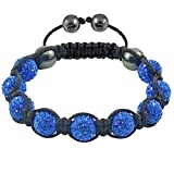 Crystal/Hematite Disco Ball Friendship Bracelets By The Jewels [Blue with black string] Picture