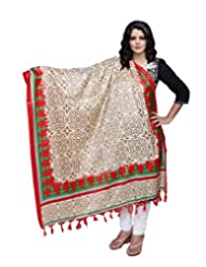 IndiWeaves Women Bhagalpuri/Tussar Silk Digital Print Cream+Red Dupatta