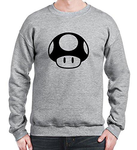 Sweatshirt da uomo con Toad logo di super mario con illustrazioni a stampa. XX-Large, Grigio