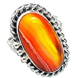 Orange Botswana Agate, Agate Orange Botswana Argent Sterling 925 Bague 8.5