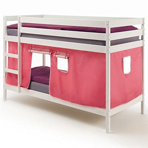 Etagenbett Kinderbett Stockbett Doppelstockbett FELIX, Kiefer massiv weiß lackiert, inklusive Vorhang günstig online kaufen