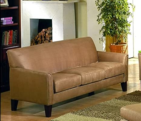 Contemporary Style Peat Microfiber Sofa Couch