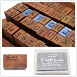 1 Set of 70pcs Vintage Style Wooden Rubber Alphabet Letters Number Stamps + 1 Silver Ink Pad