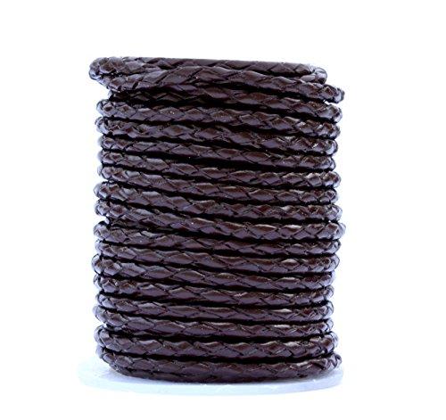 Bolo Leather Cord, 10 Meters Spool, 3.0 Millimeter Dark Brown