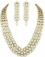 Karatcart Gold-Plated Multi-Strand Necklace With Earring Set For Women