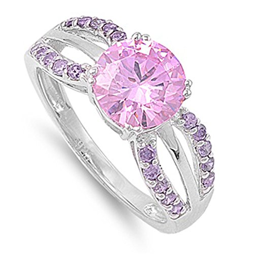 Sterling Silver Womans Pink Ice Fashion CZ Ring Classic 925 Band 7mm Size 10