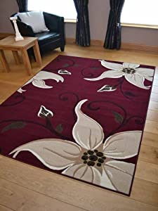 Lily Dark Red Wine And Beige Floral Design Rug. Available in 7 Sizes by Rugs Supermarket