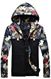 Men's Stylish Floral-Print Light Weight Hoodie Jackets Wind-Resistant Coat