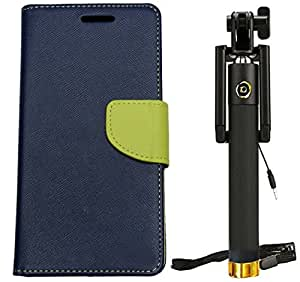 Novo Style Fancy Diary Wallet Flip Cover For Xiaomi Redmi Note 3 - Blue + WIRED Selfie Stick Portrait Taker & Video Recorder UNIVERSAL FIT for iPhone smartphones