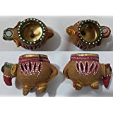 Auspicious Set Of 2 Elephant Diya With Wax Hand Crafted And Hand Painted