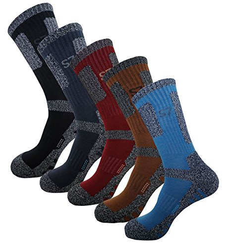 5Pack Men's Bio Climbing DryCool Cushion Hiking/Performance Crew Socks 5Pair Medium