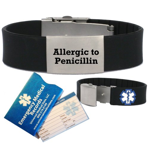 pre-engraved-allergic-to-penicillin-medical-alert-identification-bracelet-in-black-silicone-choose-f