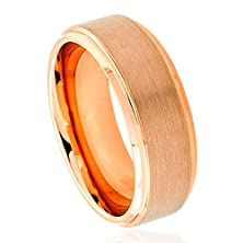 buy 8Mm - Man Or Ladies - Tungsten Carbide Rose Gold Plated Stepped Edge Brushed Center Wedding Band Ring