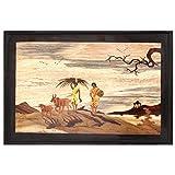 Designer Lanes Village Scene - Women With Cattle At Sunset Wooden Potrait (45.72 Cm X 30.48 Cm X 2.54 Cm , Brown)