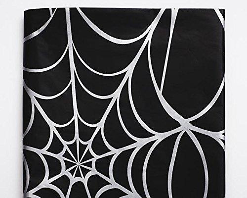 "Spiderweb Tablecloths - Set of 2, 54"" x 108"" Black Plastic Tablecloth Cover Gray Spiderweb"