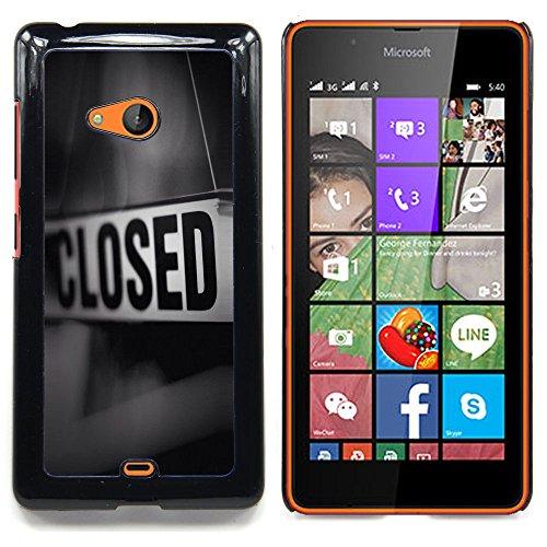 - Closed Sign Store Message Black White - Slim Guardia cassa dell'armatura del telefono- For Microsoft Nokia Lumia 540 N540 Devil Case