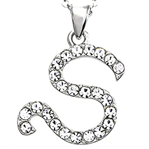 Alphabet Initial Letter S Pendant Necklace Charm Teens Ladies Fashion Jewelry