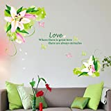 Decals Arts Bedroom Warm And Romantic Lily Wall Stickers