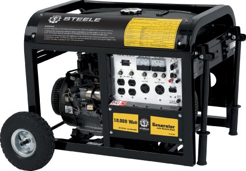 Steele Products SP-GG1000E 10,000 Watt 4-Cycle Gas Powered Portable Generator With Wheel Kit & Electric Start by Gasoline Generators