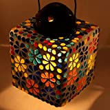 EarthenMetal Handcrafted Mosaic Glass Decorated Multicoloured Glass Hanging Candle Light