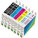 7 Pack Compatible INK Cartridge for Epson T048(2bk/1c/1m/1y/1lc/1lm) Ink Cartridges-stylus Photo R200 Photo R220 Photo R300 Photo R300m Photo R320 Photo R340 Photo Rx500 Photo Rx600 Photo Rx620