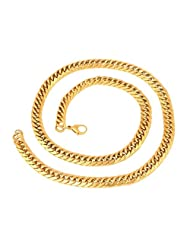 YoFashion Mens Stainless Steel Gold Plated 3D Heavy Curb Chain 24""