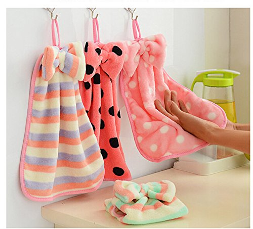 3pcs Free ship Creativity towel dot bow striped cloth kitchen towel Hand Dry Towel Lovely Towel For Kitchen Bathroom Use