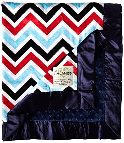 "My Blankee Chevron Minky Multi Red w/ Minky Dot Navy Baby Blanket, 30"" x 35"" - 1"