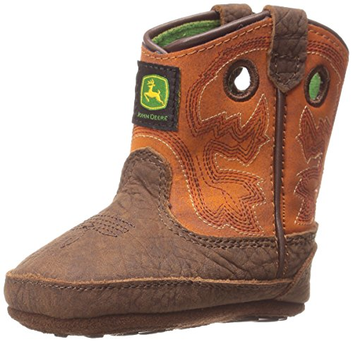John Deere Western Crib Boot (Infant/Little Kid/Big Kid),Brown/Rust,3 D US Little Kid