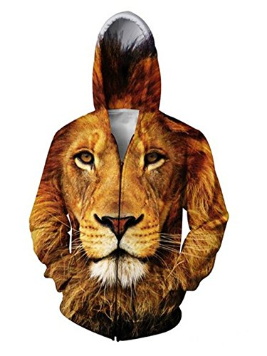 Uideazone Men 3d Printed Lion Zip Up Hoodie Sweatshirt Cool Jackets Coat (Cool Printed Hoodies compare prices)