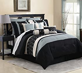 Perfect  Piece Queen Maddie Black and Slate Comforter Set price