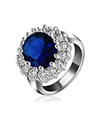 Engagement Ring Platinum Plate AAA Blue Zircon Jewelry Ring For Women By Shringaar Shop