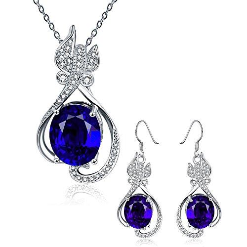 [Women Jewelry Sets Crystal Fashion Earrings Pendant Necklace Inlay CZ Ocean Blue Open Teardrop] (Homemade Baby Panda Costume)