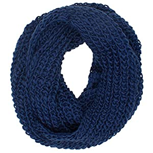 DRY77 Forever Chunky Thick Knitted Fashion Winter Eternity Infinity Loop Scarf, Blue, 16