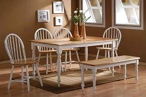 Boraam 86369 6-Piece Farmhouse Dining Room Set, White/Natural