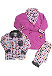 Bunz Kidz Little Girls' 3 Piece Robe and Pajama Set
