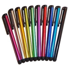 10 x Stylet Capacitif pour Écrans Tactiles de Tablettes et téléphone (iPhone, iPad, Samsung, Motorola, Kindle, LG, HTC, Sony, Huawei, Blackberry, Archos, Asus) - Mix de coloris
