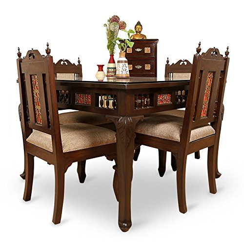 ExclusiveLane Teak Wood 4 Seater Dining Table Chair With  : 51TD2IVfwDL from compare.buyhatke.com size 500 x 500 jpeg 45kB