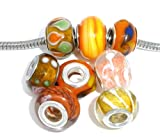 You Choose One(1) Ten Pack of Assorted Colors Glass Lampwork Murano Glass Beads for European Style Bracelets. Fits Pandora, Biagi, Troll, Chamilla and Many Others (Select Your Color From the Drop Down Menu) (Orange)
