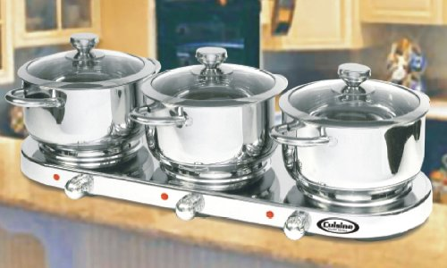 Cuisine Cookware Triple Burner 7Pc Buffet Set – Stainless Steel|7PCTBS (B002N6JI7A)