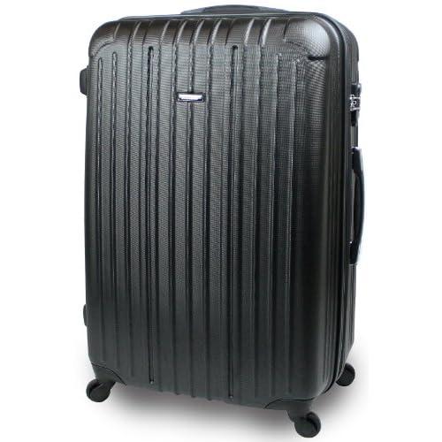 【SUCCESS サクセス】 スーツケース 3サイズ( 大型 ・ ジャスト型 ・ 中型 ) 超軽量 キャリーバッグ TSAロック 搭載 【エアー2014 ダブルファスナーモデル】 エンボス加工モデル (ジャスト型 72cm, クロウブラック)