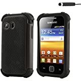 32nd® Shock proof defender tough dual case cover for Samsung Galaxy Y S5360 + screen protector, cleaning cloth and touch stylus - Black