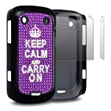 PURPLE BLACKBERRY BOLD 9900 KEEP CALM AND CARRY ON DIAMANTE CASE / COVER / SHELL / SKIN WITH 2-IN-1 SCREEN PROTECTOR PACK