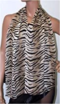 Textured Silk Georgette Scarf Animal Oblong-Tiger In Taupe