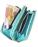Große Damen Leder Geldbörse in Türkis mit viel Stauraum und Platz für 22 Karten