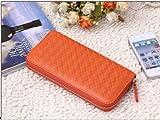 meu Amor   バックメーカー製造  長財布  編込み ラウンド ファスナー カードポケット付き 機能財布   (ビタミン オレンジ)